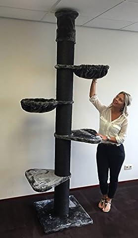 Kratzbaum große katze XXL Maine Coon Tower Blackline Anthrazit. Stämme 20cm Ø. Speziell für große und schwere Katzen. Deckenhoch. Von RHRQuality