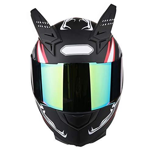 OUTO Abnehmbarer Helm Motorrad Außenreit Bunter Anti-Fog-Spiegel Integralhelm Schwarz Rot Teufelhorn (Color : Red and Black Devil, Size : XXL)