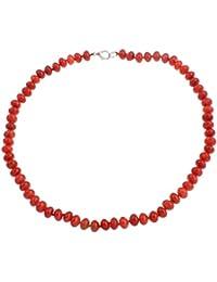 6836298c2c26 TreasureBay Hermoso collar de coral rojo natural de 6 x 9 mm para mujeres y  niñas