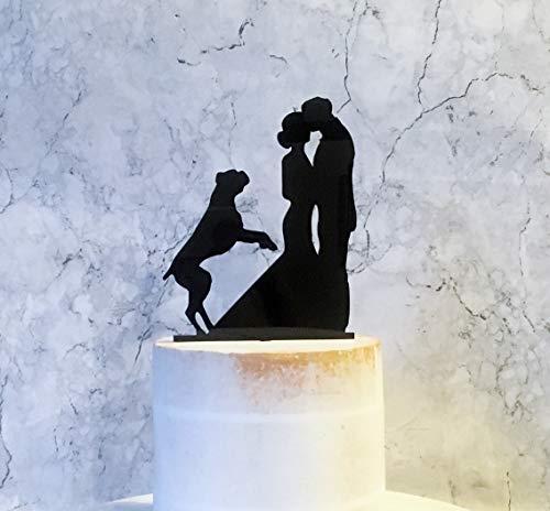 Springender Hund Tortenaufsatz Silhouette Hochzeit Kuchen Topper mit Hund Hochzeit Kuchen Topper Braut Bräutigam Hund Boxer Hund Hochzeit Dekoration -