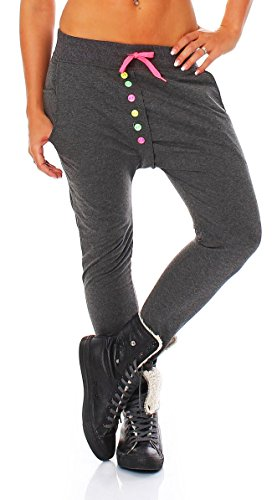 malito Damen Jogginghose mit bunten Knöpfen | Sporthose einfarbig | Baggy zum Tanzen | Sweatpants – Trainingshose 2659 (XL, dunkelgrau)