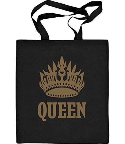 Cooles Queen Desing mit goldener Krone Jutebeutel Baumwolltasche Schwarz