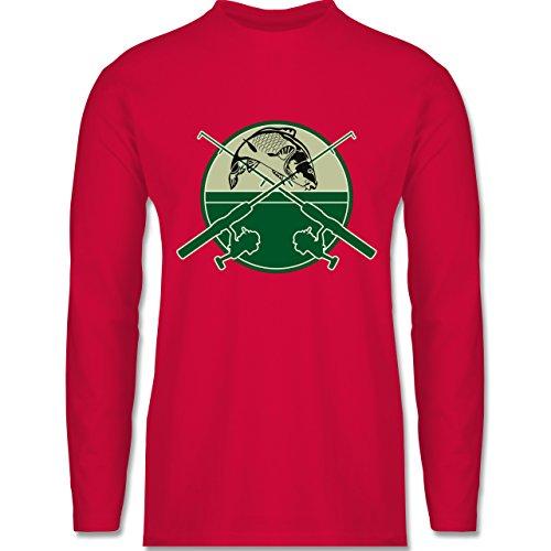 Angeln - Karpfen Fischer - Longsleeve / langärmeliges T-Shirt für Herren Rot