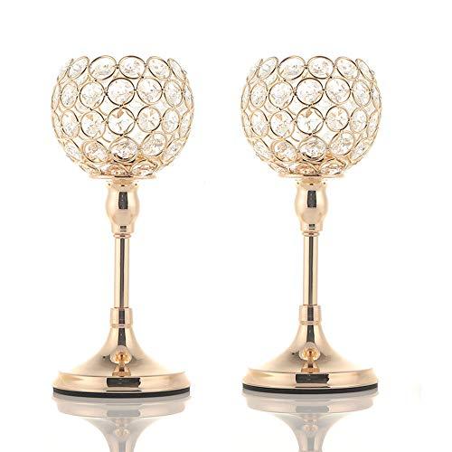 VINCIGANT Gold Kristall Kerzenhalter für Hochzeits Dekoration Tisch Dekoration,25cm&25cm ()