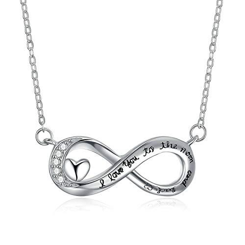 Epinki Damen Halskette 925 Sterling Silber Damenkette Horizontal 8 Form Buchstaben Länge 40+5 cm Silberkette Damenkette Weiß -