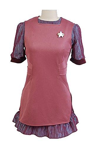 Elecos Star Trek Weiblich Uniform Cosplay Kostüm Party Kleid Flotte Kostüm Set Damen Pink M (Weibliche Star Kostüme Trek)