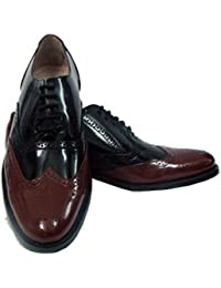 Handmade Goodyear Welted Cherry And Black Leather Brogue Leather Shoes With Argentina Leather Sole, Fully Leather...