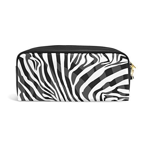Linomo Federmäppchen Tier Zebra Druck Mäppchen reißverschluss Federtasche leder Schüleretui Bleistift Beutel klein Kosmetiktasche MakeUp Tasche für mädchen teenager junge kinder -