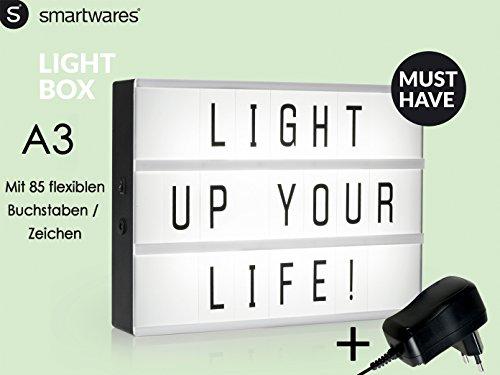 Light-Box / Leuchtkasten A3 mit 85 Buchstaben und Symbolen, Deko-Licht-Box inkl. Netzadapter