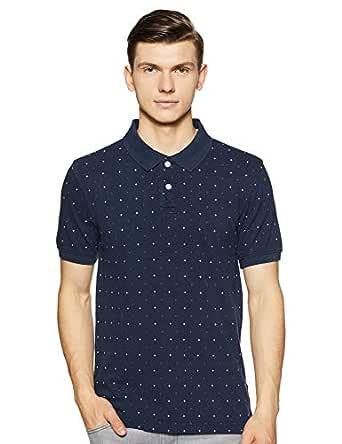 Amazon Brand - House & Shields Men's Printed Regular fit Polo (SS19-HSK-34_Iris Navy_L)