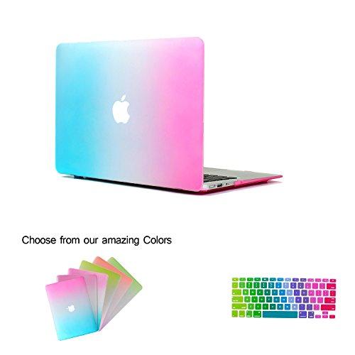 Macbook Air 11 Hülle Case Tastaturschutzfolie kit, TECOOL [Ultra Dünn Serien] Notebook Hartplastik Hartschale Schutzhülle Case für Apple MacBook Air 11.6 Zoll Modell: A1370 und A1465 mit Muster Regenbogen