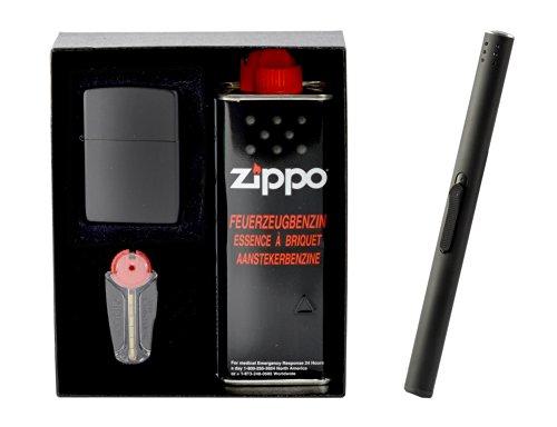 Zippo black matte im Geschenkset inkl. Stabfeuerzeug