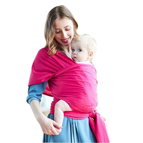 Baby Tragetuch Sling Baby Wrap Carrier aus BIO-Baumwolle, Atmungsaktiv und leicht Elastisches Neugeborene Babytragetücher für Babys bis 44 lbs, perfekte Baby Dusche Geschenk, langlebig - Eine Größe passend für alle Männer und Frauen (Rose rot) Man Wrap