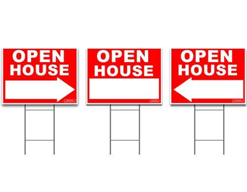Open House-einsätze (Große Offene House Sign Kit mit hohen steht-YARD Sign Bundle für Immobilien-3Pack-(1) 61x 45,7cm Yard, mit (2) gerichtete rechts oder links Pfeil + (3) 61cm hoch Draht Einsatz)
