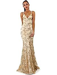 GZLG Patrón floral de lentejuelas de las mujeres del banquete de boda del vestido formal de las señoras atractivo elegante vestido de noche de la sirena Vestidos aptos ajustables