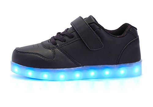 Honeystore Unisex LED Leuchtet Schuhe Sneakers mit USB Einem Geschenk der Kinder Jungen Mädchen Halloween Weihnachten Neujahr Schwarz 25 CN