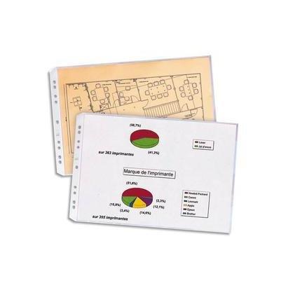 Elba Pochettes Perforées Transparentes Format A3 Plié Compatibles Classeur A4 - PVC - Sachet de 10