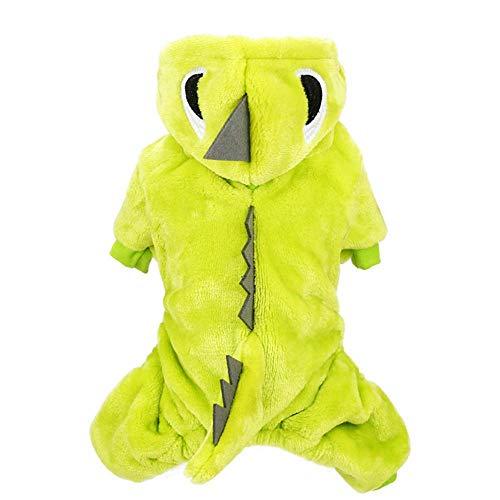 Dinosaurier Verkleiden Kostüm - NKLD MCLOTH050GG Pet Puppy/Cat Kleidung Kostüm Kleidung, verkleiden Sich Pet Kleidung, Puppy Kostüm, Plüsch Dinosaurier Kleidung für Herbst und Winter, grün-groß
