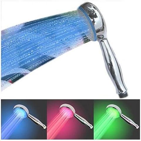 SODIAL(R) Alcachofa Manual LED de Temperatura Controlada Cambio de Color