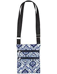 Quilted Cross Body Bag With Adjustable Strap (Blue & White) By Dawhud Direct