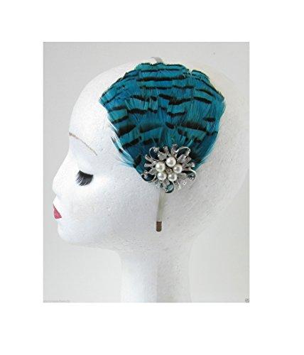 Bandeau plumes Bleu sarcelle Argent Gatsby style vintage années 1920 Flapper o95 * * * * * * * * exclusivement vendu par – Beauté * * * * * * * *