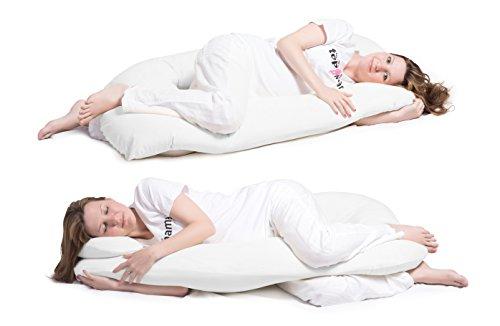 ❤️ Schwangerschaftskissen, ❤️ Seitenschläferkissen mit Öko-Tex Standard 100 - ergonomisch geformt - stützt Rücken und Bauch, inklusive Kissenbezug aus superweicher Microfaser