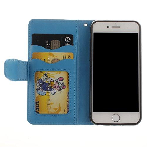 Case pour la Apple iPhone 6 Plus (5.5 pouces) Coque,Campanula plume Étui en PU Cuir Phone Case Cover Couverture Fonction Support avec Fermeture Aimantée de Feuille Motif Imprimé+Bouchons de poussière  9