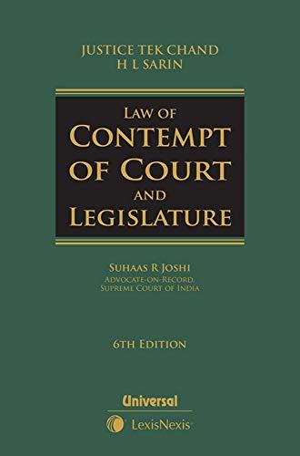 Law of Contempt of Court and Legislature