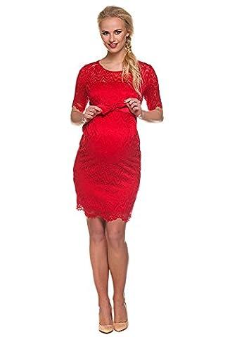 Mutterschafts Kleid Umstands Kleid Carmen rot Spitze S (small) Umstandsmode von MY TUMMY ®©™
