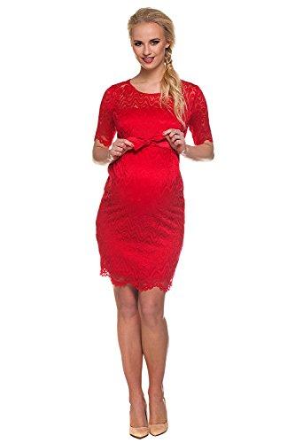 My Tummy Mutterschafts Kleid Umstands Kleid Carmen rot Spitze