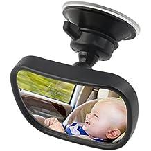 Espejo Retrovisor Coche, ICOCO Espejo Coche Bebé 360° Ajustable, Espejo Monitor de Coches de Bebé Niño Seguridad con Clip y con Ventosa (85×50mm)