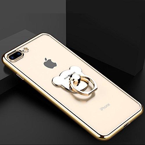 Etsue Glitzer Ring hülle für iPhone 5S/iPhone SE mit [360 Grad Niedlich Bär Ring Fingerhalterung Ständer] Glänzend Silikon Weiche Durchsichtig Handytasche, Glitzer Bling Glitter Überzug Silber Rahmen  Bär Ring Golden