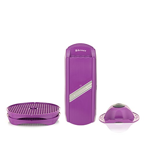 Börner Scheibenschneider + Chipsmaker Set/Gemüseschneider mit 2er Chipsmaker/Selbstgemachte Kartoffelchips aus der Mikrowelle (violett)