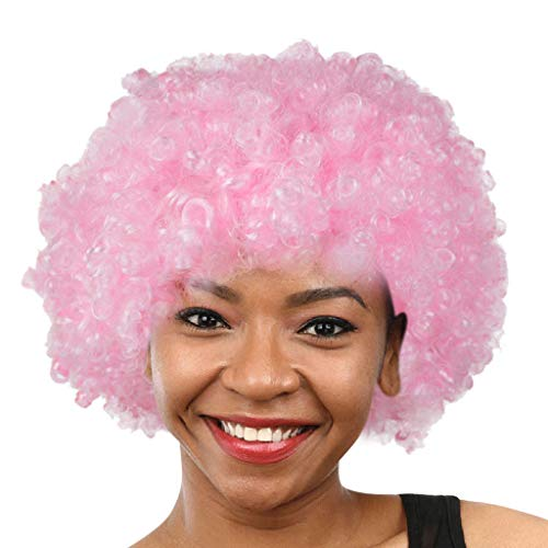 Afro Perücke Herren Damen Schwarz Unisex 70er Jahre Funky Lockenkopf Wig Wie Echthaar Afroperücke Schwarze Locken Karneval Fasching Lockenperücke Clown Cosplay Party Punk (Rosa)