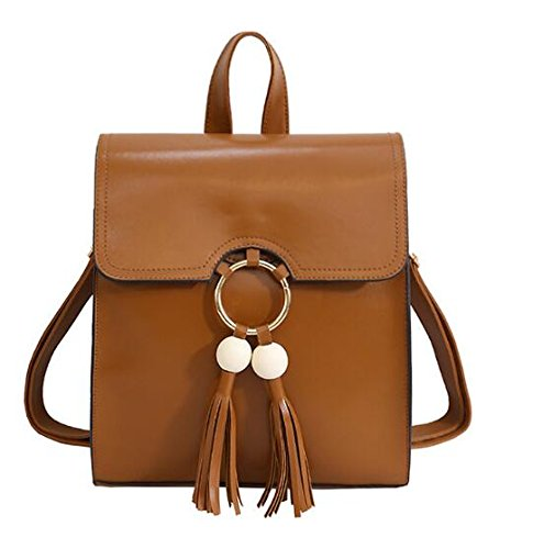 Mefly Donne Zaini In Pelle Donna Borse Scuola Per Ragazze Adolescenti Zaino Fashion Bagpack Brown Brown