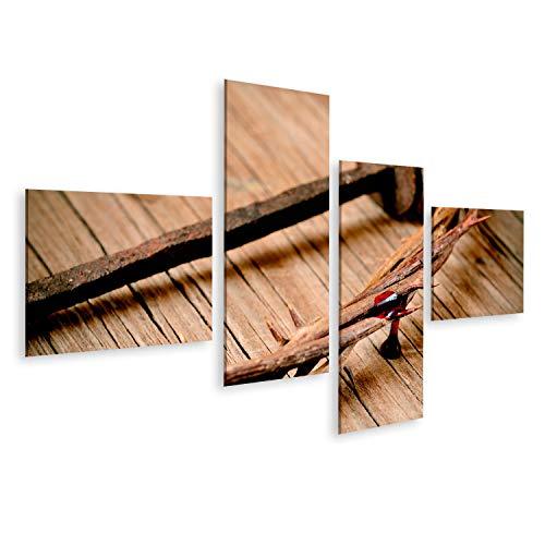islandburner, Bild Bilder auf Leinwand eine Darstellung der Dornenkrone Jesu Christi mit Bluund Einem Nagel am Heiligen Kreuz Wandbild, Poster, Leinwandbild OXF-4LP-DE6 (Kreuz Mit Dornenkrone)