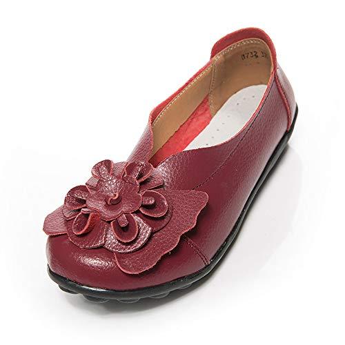 Dorical Damen Mädchen Erbsen Schuhe Casual Flach Schuhe Gartenschuhe Kunstleder Slip on Komfortable Schuhe Weich Leichte Bequem Rutschfest Freizeitschuhe Halbschuhe (Weinrot,39)