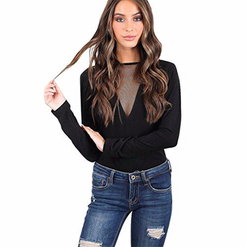 (Damen Fashion Lace Playsuits Loveso Netzgarn Tief V-Kragen Solide Schwarz Aushöhlen Spitze Sexy Rückenfrei Slim Langarm Playsuit (M, Schwarz))