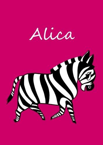 personalisiertes Malbuch/Notizbuch/Tagebuch - Alica: Zebra - A4 - blanko