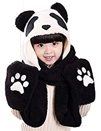 KKCF Lindo Panda Sombreros Guantes Conjunto De Bufanda Invierno Cálido  Sudadera con Capucha Orejeras Sombrero Bufanda 91eeca761e5