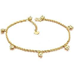 Fashmond Golden Fußkettchen Fußkette für Damen Frauen Mädchen Herren Männer Kinder Freundin Freund aus Legierung ValentinstagGeschenk