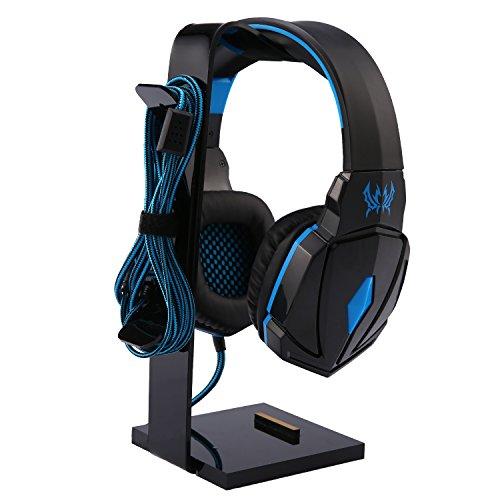 niceEshop(TM Multifonctionnel Support pour Casque écouteur Stand pour Tous Les écouteurs/Téléphones/ipad/Montre, Noir et Bleu