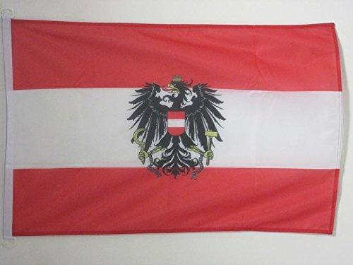 AZ FLAG BOOTFLAGGE ÖSTERREICH mit Adler 45x30cm - ÖSTERREICHISCHE BOOTSFAHNE 30 x 45 cm Marine Flaggen Top Qualität