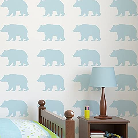 Woodland Bear Silhouette Nursery STENCIL paint walls fabric and furniture, reusable, Home Decor, Art Craft Stencils (XS/11X18CM)