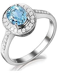 6978183b19b9 SonMo Ring Anillos de Compromiso Mujer Diamantes Anillo Boda Plata de Ley Anillos  Compromiso Oro 24K