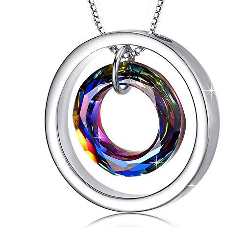 E.INFINITY Collar de Cristal Swarovski de Círculo, Joya Colgante para Mujeres