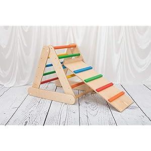 Dreieck Pikler 65-65-65 Klappbar mit Rampe und Rutsche Kletterleiter für Kinder mehrfarbig