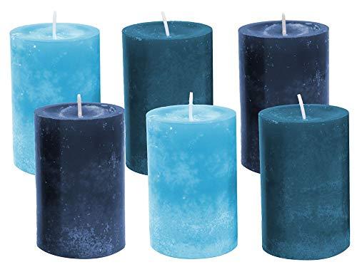 Unbekannt 6 Stumpenkerzen Kerzen Blau Türkis Mix Hochzeit Kommunion Taufe Konfirmation Tischdeko