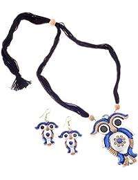 More Bangla Women's Puja Bahaar Terracotta Jewellary Set-Blue