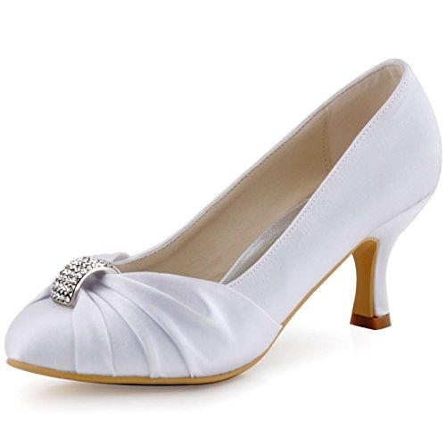 ElegantPark HC1526 Donna Punta Chiusa Tacco Medio Strass Volant Raso Sposa Ballo Sera Partito Pompe Bianco